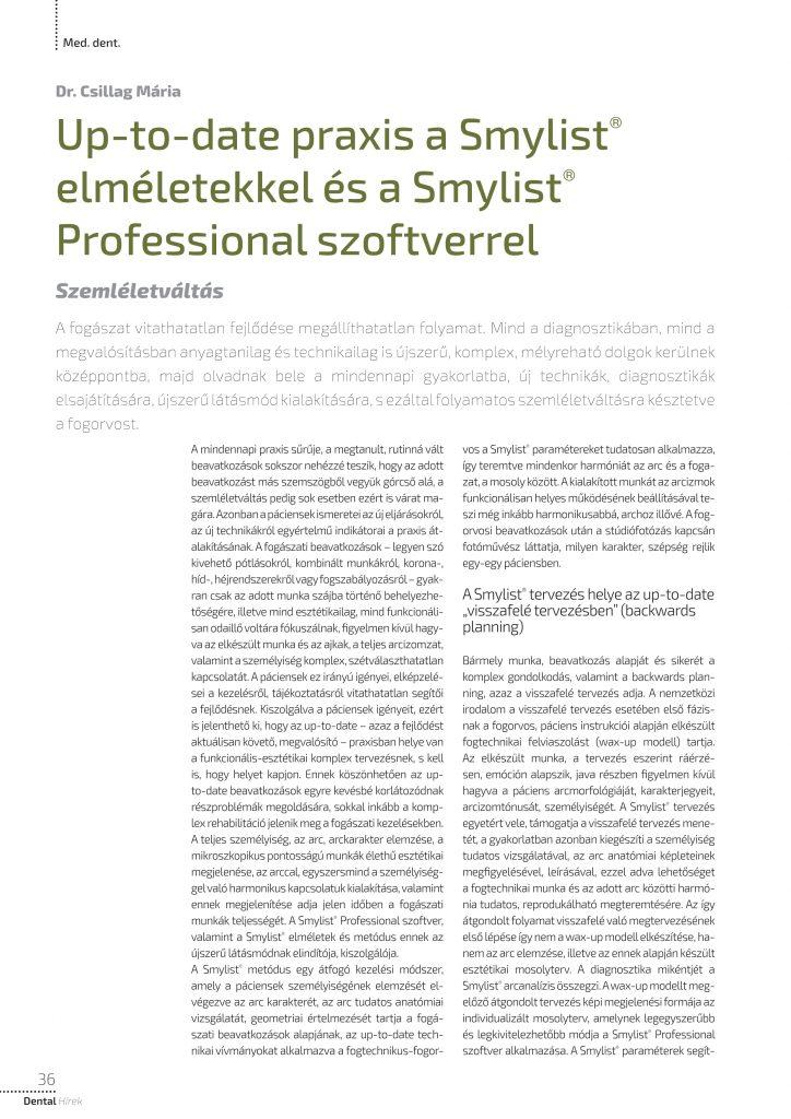 Up-to-date praxis a Smylist® elméletekkel és a Smylist® Professional szoftverrel
